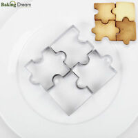 4Pc Puzzle Mold Cookie Cutter Baking Fondant Stainless Steel Cake DIY Tool Decor