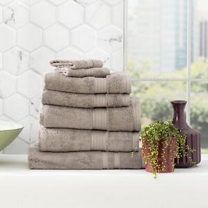 Renee Taylor Stella 650 GSM Bamboo Cotton Bath Towel Pack & Individual Pewter