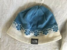 The North Face Blue White Knit Fleece Inner Rim Beanie Hat Infant Made in Canada