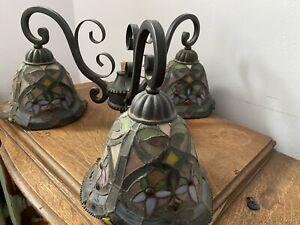 Vintage Tiffany Style Stained Glass Chandelier W/3 Lights. Billiards/ Kitchen