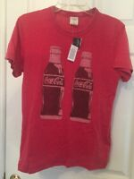Abercrombie & Fitch Mens Red Vintage Coca Cola Coke Bottle Soda Tee T-Shirt L