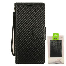 For Motorola Moto E6 Carbon Fiber Leather Premium Wallet Pouch Flip Phone Case
