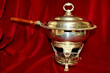 Silver Plated Two Quart Chafing Dish with Wood Handle