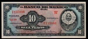 MEXICO 10 Pesos 08/09/1954 ( TEHUANA ) Serie EN F135886 Pick - 58b  UNC