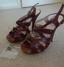 BRAND NEW Witchery Size 37 Strappy Brown Cork Stilleto Heel Shoe RRP $169.95