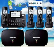 PANASONIC KX-TG9541B 2-LINE LINK2CELL MUSIC ON HOLD 4 CORDLESS PHONES 2 REPEATER