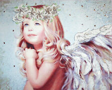 Angel With Lilies DIY bead embroidery kit, beaded painting, wall art decor