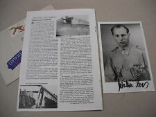 SIGNED 4x6 PHOTO OF WWII LUFTWAFFE ACE WALTER LOOS + MILITARY BIO!
