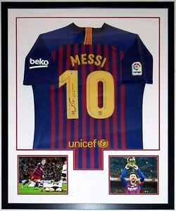 Lionel Messi Autographed Nike Barcelona Jersey Beckett BAS COA Framed w/ 8x10