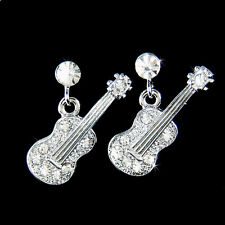 w Swarovski Crystal ACOUSTIC GUITAR  Folk Rock Music Musical Charm Stud Earrings