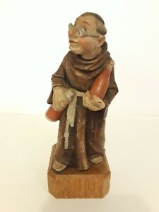 """ANRI Toriart Monk Wearing Glasses Holding 2 Bottles Wine Made In Italy 5.5"""" H"""