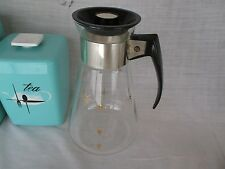 CORNING Heat Proof ATOMIC gold star starburst coffee carafe 6 cup glass pot tall