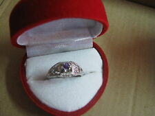 geniune amethyst ring art deco style 925ss 14kwg plated size 6.5