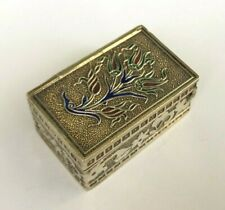Vintage Rare Solid Silver & Enamel Decoration Pill Box Old