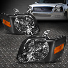 For 2006 2010 Ford Explorer Pair Smoked Housing Amber Corner Headlight Lamp Set Fits 2007 Sport Trac