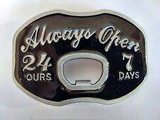 Always Open Bottle Opener Belt Buckle fits up to 1.5 inch snap on belts