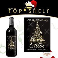 personalised christmas xmas wine bottle label gift