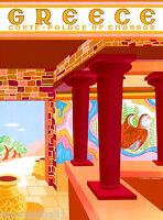 Greece Isle of Crete Place of Cnossos Greek Vintage Travel Advertisement Poster