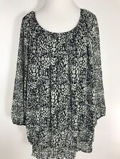 Cathy Daniels Womens Plus 1X Top Artsy Black White Semi Sheer Lined Casual