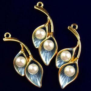 3Pcs 35x15x5mm Blue Tibetan Golden Pearl Morning glory Pendant Bead H77736
