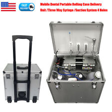 New Listingdental Portable Delivery Unit Rolling Case Slow Suction Air Compressor 4 Hole Us