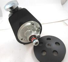 SB Chevy SBC Black Saginaw Power Steering Pump W/ Billet Power Steering Pulley