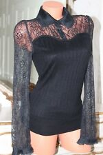 S5  HOPESHOW silk mix black elasticated lace top size M