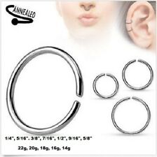 22g 20g 18g 16g 14g Annealed Seamless Bendable Ring Septum Nose Lip Ear Hoop