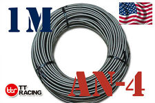 "1/4"" STAINLESS STEEL  BRAIDED -4AN AN4 4-AN OIL FUEL LINE HOSE 1 M 3.3FT"