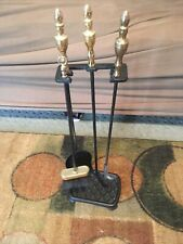 Vintage Black gold Iron 4 Piece Fireplace Tools