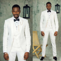 Groomsmen 3 pieces White Groom Tuxedo Men wedding Suits Best Man Latest  Blazer