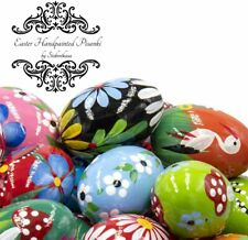WOODEN EASTER EGGS PISANKI Pysanky Polish Painted Decorative EGGS Large Size