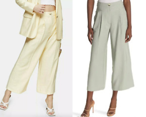 TOPSHOP Wide Leg Cropped Woven Trousers ; in Almond Green and Buttermilk yellow