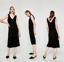 New Zara Trafaluc Collection Black V-Neck Stretchy Fake Fur/Fluffy Midi Dress,L