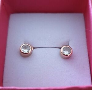 Russian 14ct Rose Gold Stud Earrings With White Stones