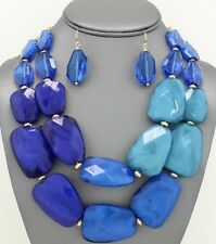 Two Layers Multi Royal Blue Lucite Bead Chunky Necklace Earring Set