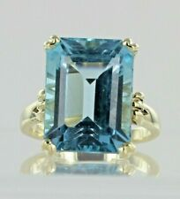 9ct Yellow Gold Blue Topaz Dress Ring Hallmarked REF2380