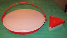 LARGE RED TUPPERWARE DIVIDED VEGGIE SERVER W/LID & HANDLE + RED PIE SLICE HOLDER