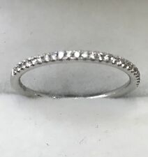 14k solid  white gold diamond band ring. 0.20 ct VS quality size 6.5 stackable
