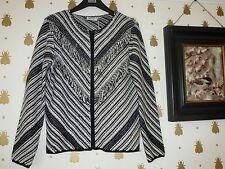 New Per Una black white Aztec knitted jacket cardigan fringed chevron stripe 8