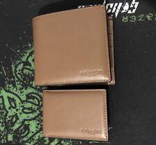 Genuine COACH Men's Brown/Tan Leather Bi Fold Wallet