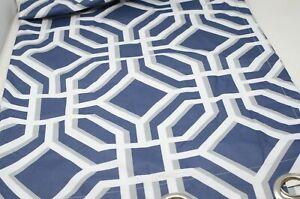 Geometric Navy, Grey, & White Room Darkening 63 in Curtain Panel