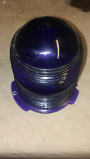 Vintage Blue Beacon Lens Ribbed Glass Globe Light Cover