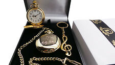 SIGNED BUDDY HOLLY Pocket Watch Musical Note Keyring Gift Set 24k Gold Clad