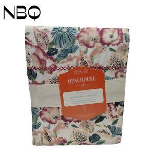 Twin/Twin XL Printed Pattern Percale Sheet Set Purple Floral - Opalhouse™