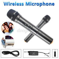 2 Kanal Hand Tragbar UHF Kabellos Mikrofon Handheld Karaoke Mikrofon + Empfänger