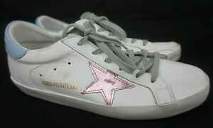 Golden Goose Superstar Low Top Sneakers Women's White Pink Star Shoes Size 40