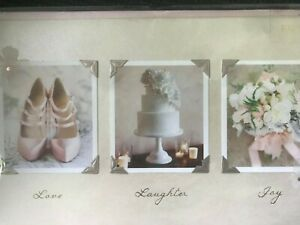Beautiful Papyrus Wedding Card: Love Laughter Joy with Three Lovely Photos