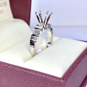 0.47 ct Diamond Semi Mount Engagement Ring in Platinum