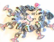 """Daddy's Little Girl Ballerina Handmade Charm Bracelet, 6 3/4"""" Adj. + 1 1/2"""" Ext"""